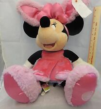 "Disney store exclusive Minnie Mouse pink dress w/ pink bunny slippers 17"" tall"