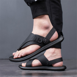 Mens Faux Leather Flip Flop Flats Sandals Summer Outdoor Casual Shoes Slippers