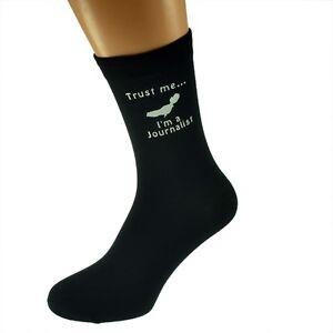 Trust me I'm a Journalist Image Black Socks UK Mens Size 5-12 - X6N504