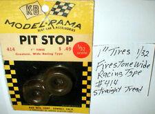 "Firestone Straight tread Wide 1""x 3/8"" Tires by K & B NOS #414 32 scale Slot Car"
