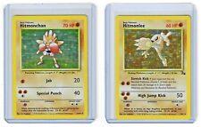 1999 Pokémon TCG - Hitmonlee 7/62 & Hitmonchan 7/102 Cards - Holo Rare LOT (x2)