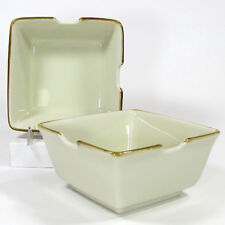 "Pottery Barn ASIAN SQUARE - PUTTY 6"" Noodle Pho Bowl Set 2Pc Tan Natural Japan"