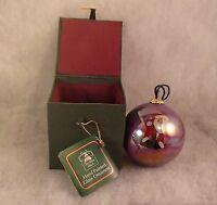 Christmas House Hand Painted Glass Santa Ornament  Original Cloth Covered Box