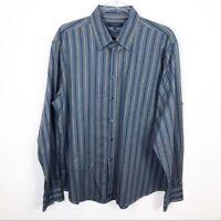 MEN'S TED BAKER LONDON BLUE & TAUPE STRIPE LONG SLEEVE DRESS SHIRT SZ 6/XL