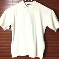 OP Sport -Size L- Men's White Short Sleeve Cotton Polo Shirt with Ribbed Collar