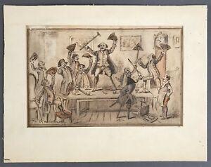 [George Cruikshank]  SIGNED Original Ink Sketch: Battle of the Nile  Circa 1826
