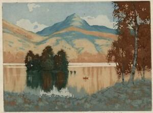 ROBERT HOUSTON (1891-1940) Signed Aquatint Etching SCOTTISH MOUNTAIN LAKE