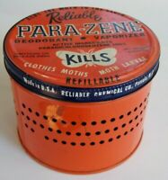 1950s Passaic NJ Vintage Reliable Para-Zene Insecticide Advertising Tin Can
