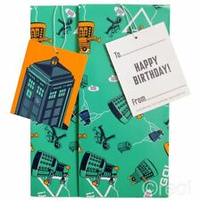 New 1 Doctor Who Gift Wrap Set Birthday Tag Wrapping Paper TARDIS Dalek Official