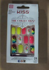 Kiss The Collection Nails (SSC03 - TEMPTATION) Medium Design Nails with Glue NEW