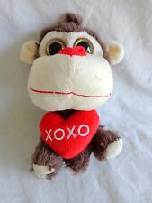 "Plush BROWN MONKEY 7"" Red XOXO Heart Pillow Big Face Big Eyes 2015 Valentine"