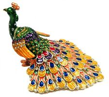 Peacock Trinket Box Colorful Crystals FengShui Hand Painted Peacock Jewelry Box