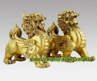 H:10CM Pure Brass talisman Fengshui Evil Door Fu Foo Dog Lion beast kylin Pair