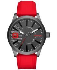 New Diesel Mens Watch Rasp Gunmetal Grey Steel Case Red Silicone Strap DZ1806