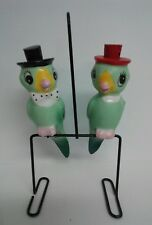 Vintage NORCREST PARROT Salt & Pepper Shakers ANTHROPOMORPHIC with Metal Stand