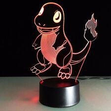 New Charmand (Pokemon) - 3D LED Night Light Desk Lamp 3D Illusion USB Table Lamp