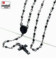 "Men's Fashion 4 mm Bead Guadalupe & Jesus Cross 25"" Rosary Necklace HR 700 BK"