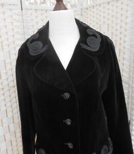 Vintage 1960's Harella Black Velvet Jacket Pleated Trim S.12-14 Made in England