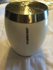 Starbucks Coffee Canister Jar White Mermaid Logo Silver Lid Original Rare 2011
