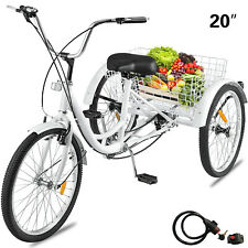 Adult Tricycle 1-Speed 3 Wheel  20'' Yellow Trike Bike 3-Wheels W/ Lock Durable