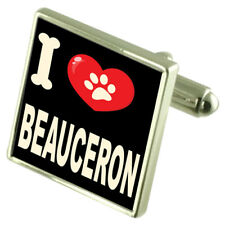 I Love My Dog Silver-Tone Cufflinks Beauceron