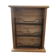 French Country Timber Wooden Spice Rack Short Fat Black Metal Insert New