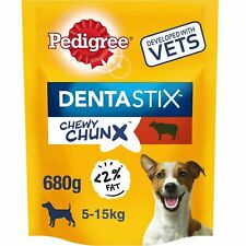 10 x 68g Pedigree Dentastix Chewy Chunx Mini Small Medium Dog Treats Beef