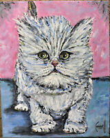 PERCY THE PERSIAN CAT new oil painting 8x10 canvas original signed art Crowell $