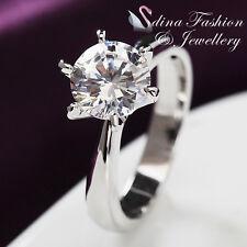 18K White Gold GP Simulated Diamond 2.0 ct Round Cut Classic Silver Wedding Ring