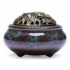 Incense Burner Sticks Cone Holder Ash Catcher Ceramic Zen Lotus Coils Smoke Flow