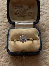 Antique Art Deco 18ct Gold And Platinum Diamond Daisy Ring