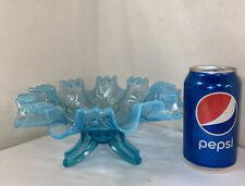 Vtg ELEGANT Blue Glass Opalescent Ruffled Rim Flowers Footed Candy Bon Bon Dish