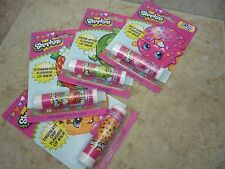Shopkins 4 Packs of Flavored Lip Balm Strawberry Jelly Apple Chocolate Chip