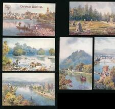 TUCKS OILETTE 7677 BONNIE SCOTLAND INVERNESS ARTIST WIMBUSH UNUSED SET of 6