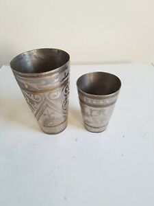 Vintage 2 pc brass small handcrafed unique shape graved lassi glass /cup