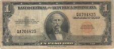 1956 1 UN PESO ORO DOMINICAN REPUBLIC CURRENCY BANKNOTE NOTE BANK BILL CASH UNO