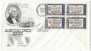 3 '60 FDCs American Credo Series George Washington SC#1139 ArtCraft B4 Artmaster