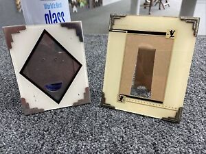 2- Art Deco Reverse Painted Picture Frames  1930s Easel Back