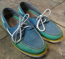 Sperry Top Sider Mens Gold Cup Blue Green Yellow 2 Eye Boat Shoes Sz 10 STS14093