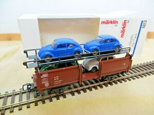 Märklin 4613 H0 Car Carrying Wagon DB With 4 VW Beetles Loaded New IN Boxed