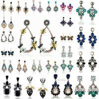 1Pair Elegant Women Crystal Rhinestone Flower Ear Stud Earrings Fashion Jewelry