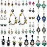 Elegant Women Crystal Rhinestone Flower Drop Ear Stud Earrings Fashion Jewelry