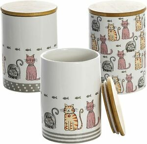 Ceramic Storage Jars Kitchen Canisters Set 3 Animal Cat Themed Gift Cat Lovers