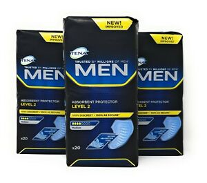 Tena Men Level 2 Absorbent Protector 3 Packs of 20 (60 Total) Incontinence Pads