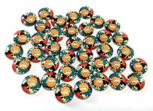 10 pcs Circle Flower Glass Round Dome Seals Tiles Cabochons –12mm –Orange Flower