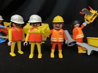 Playmobil Construction Workers w/ Chainsaw, Wheelbarrows Roller Tools Generator