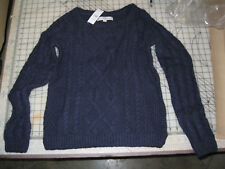 Loft womens S long sleeve round neck navy blue sweater NWT