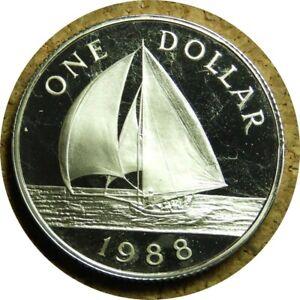 elf Bermuda 1 Dollar 1988 Proof  Silver Ship