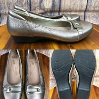 Womens CLARKS Gold Leather Flats Loafers Shoes SIZE 8.5 M EUR 39.5
