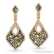 1.79 ct Fancy Color & White Diamond Dangling Earrings in 14k Rose & Black Gold